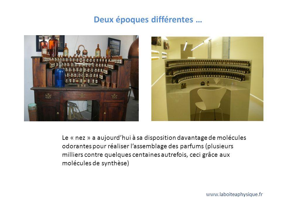 Deux époques différentes … Le « nez » a aujourdhui à sa disposition davantage de molécules odorantes pour réaliser lassemblage des parfums (plusieurs