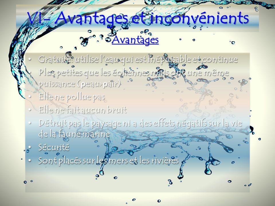 V- Applications possibles Lhydrolienne à axe horizontal Lhydrolienne à turbines libres Lhydrolienne transverse Hydrolienne à roues daubes flottantes h