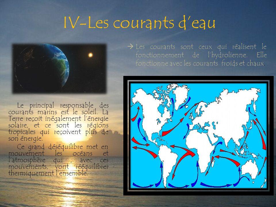 IV-Les courants deau Le principal responsable des courants marins est le soleil.
