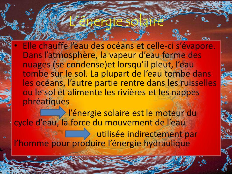 Lénergie solaire Elle chauffe leau des océans et celle-ci sévapore.