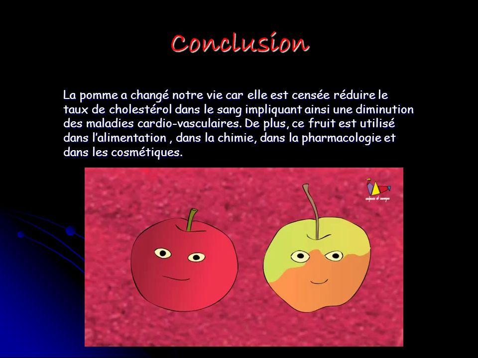 Conclusion La pomme a changé notre vie car elle est censée réduire le taux de cholestérol dans le sang impliquant ainsi une diminution des maladies cardio-vasculaires.