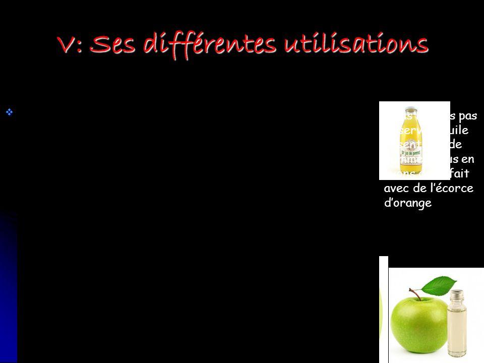 V: Ses différentes utilisations Agro-alimentaire: Agro-alimentaire: Chimie, cosmétique: Chimie, cosmétique: Pharmacologie: Pharmacologie: Nous navons pas observé dhuile essentielle de pomme, nous en avons donc fait avec de lécorce dorange