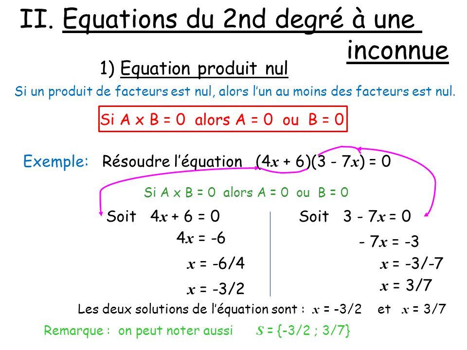 II. Equations du 2nd degré à une inconnue 1) Equation produit nul Si un produit de facteurs est nul, alors lun au moins des facteurs est nul. Exemple: