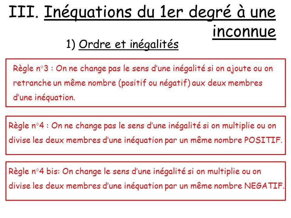 Règle n°3 : On ne change pas le sens dune inégalité si on ajoute ou on retranche un même nombre (positif ou négatif) aux deux membres dune inéquation.