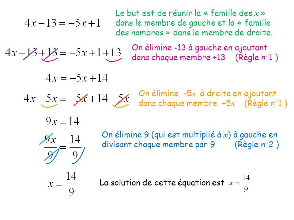 Le but est de réunir la « famille des x » dans le membre de gauche et la « famille des nombres » dans le membre de droite. On élimine -13 à gauche en