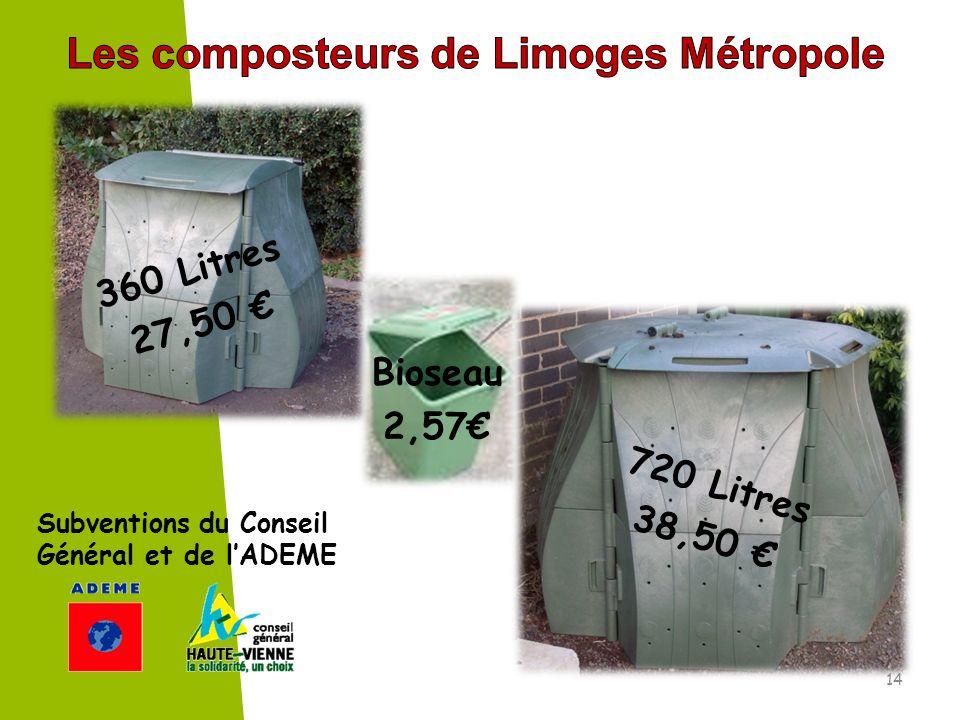 360 Litres 27,50 720 Litres 38,50 Bioseau 2,57 Subventions du Conseil Général et de lADEME 14
