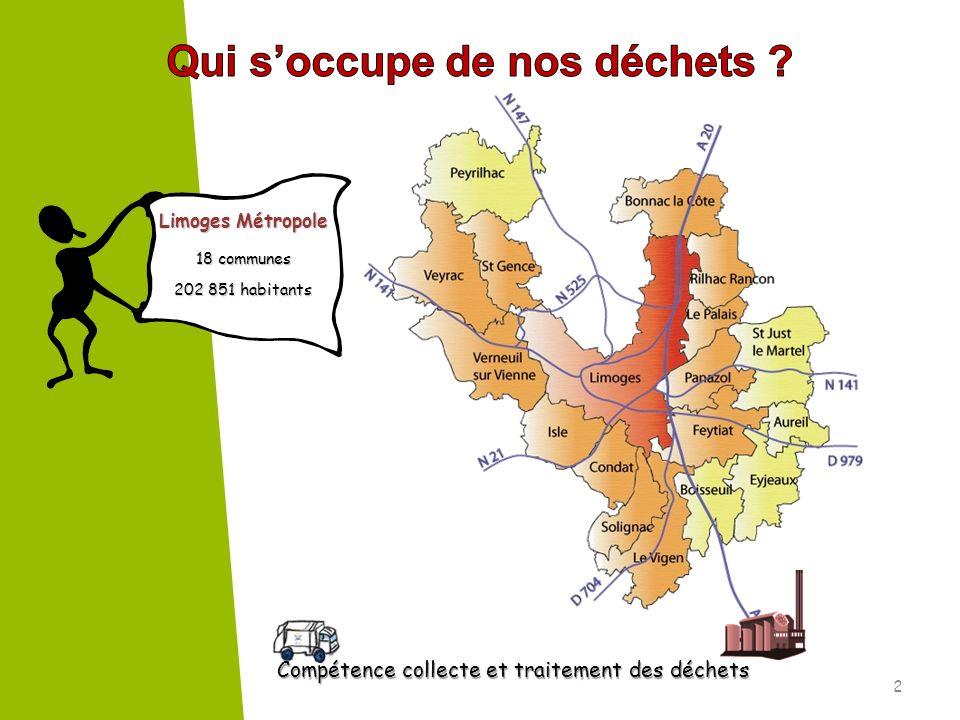 Compétence collecte et traitement des déchets Compétence collecte et traitement des déchets Limoges Métropole 18 communes 202 851 habitants 2