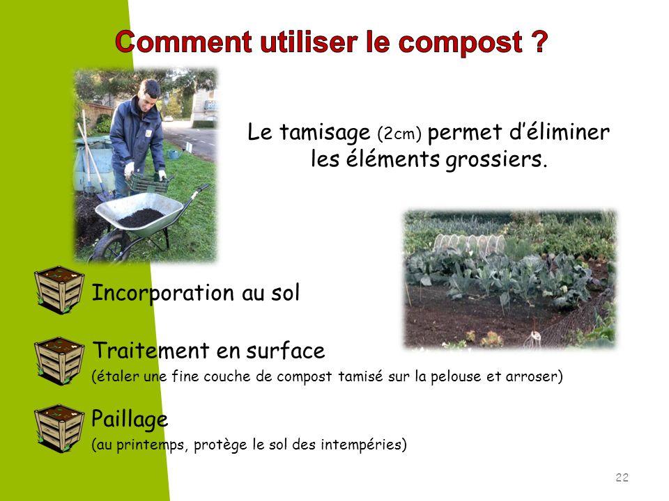 Le tamisage (2cm) permet déliminer les éléments grossiers. Incorporation au sol Traitement en surface (étaler une fine couche de compost tamisé sur la