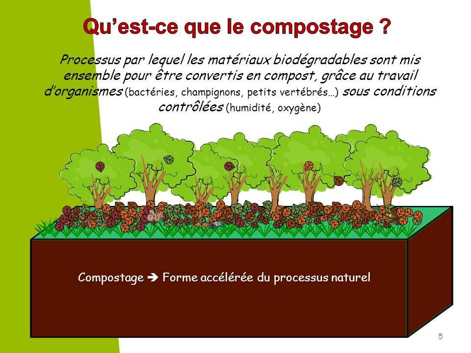 Compostage Forme accélérée du processus naturel 5 Processus par lequel les matériaux biodégradables sont mis ensemble pour être convertis en compost,