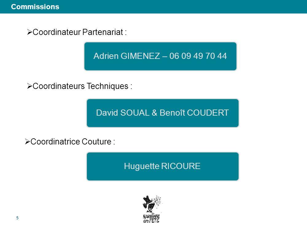 Commissions 5 Coordinateur Partenariat : Coordinateurs Techniques : Coordinatrice Couture : David SOUAL & Benoît COUDERTHuguette RICOUREAdrien GIMENEZ