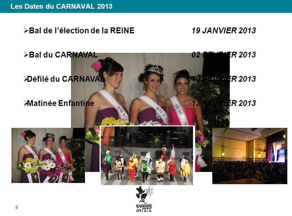 Les Dates du CARNAVAL 2013 8 Bal de lélection de la REINE 19 JANVIER 2013 Bal du CARNAVAL02 FEVRIER 2013 Défilé du CARNAVAL10 FEVRIER 2013 Matinée Enf