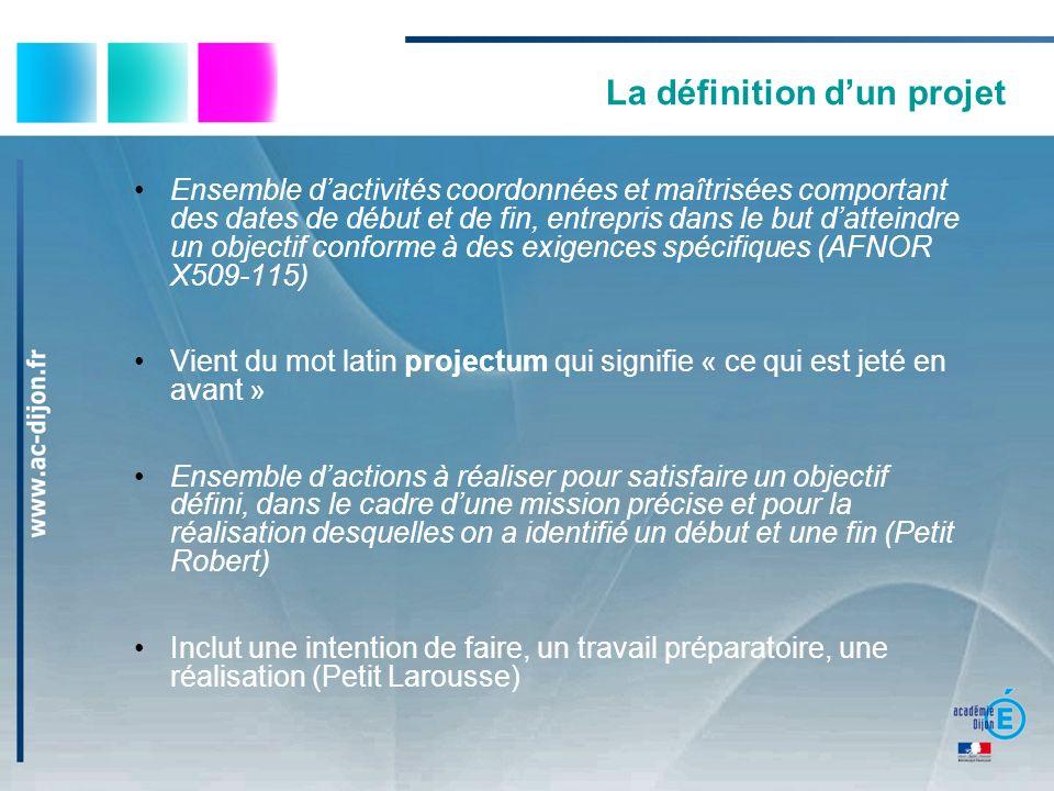 La démarche de projet Émergence de lidée Analyse de la situation Choix dune stratégie Montage et planification du projet Mise en œuvre du projet Bilan