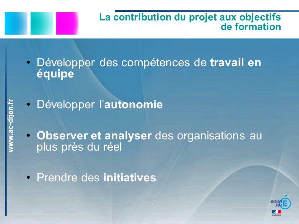 La contribution du projet aux objectifs de formation Procéder à des choix Organiser son action et gérer son temps Hiérarchiser ses priorités Faire face à des aléas