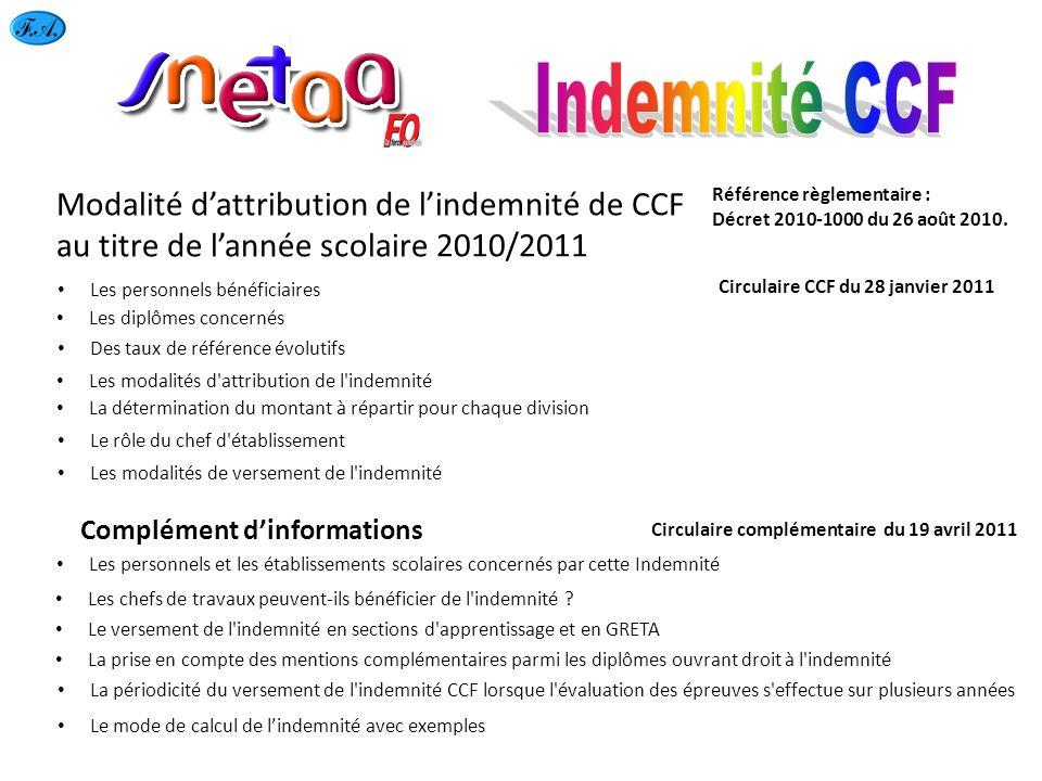 Modalité dattribution de lindemnité de CCF au titre de lannée scolaire 2010/2011 Les personnels bénéficiaires Les diplômes concernés Des taux de référ