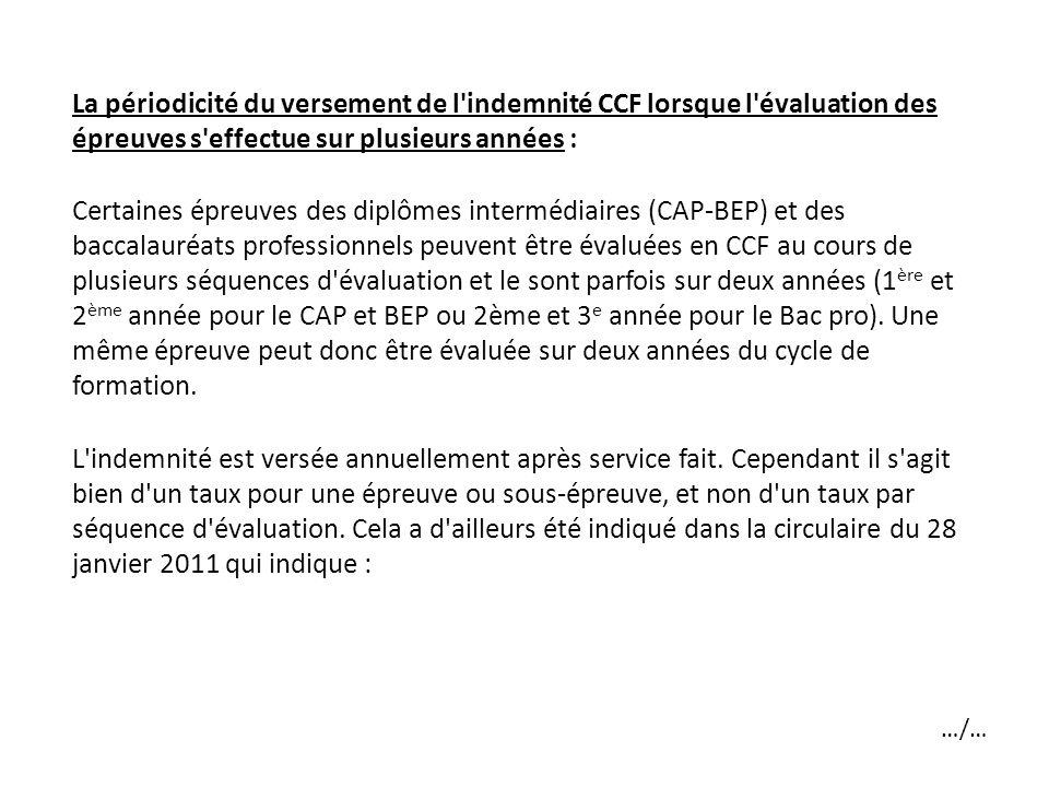 La périodicité du versement de l'indemnité CCF lorsque l'évaluation des épreuves s'effectue sur plusieurs années : Certaines épreuves des diplômes int