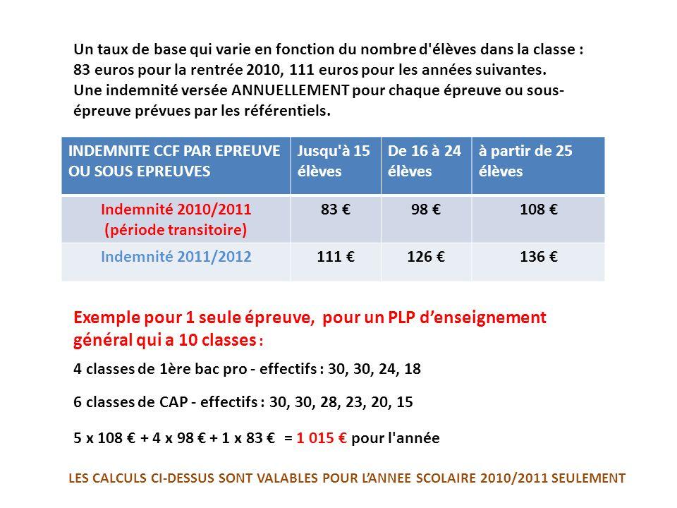 Un taux de base qui varie en fonction du nombre d'élèves dans la classe : 83 euros pour la rentrée 2010, 111 euros pour les années suivantes. Une inde