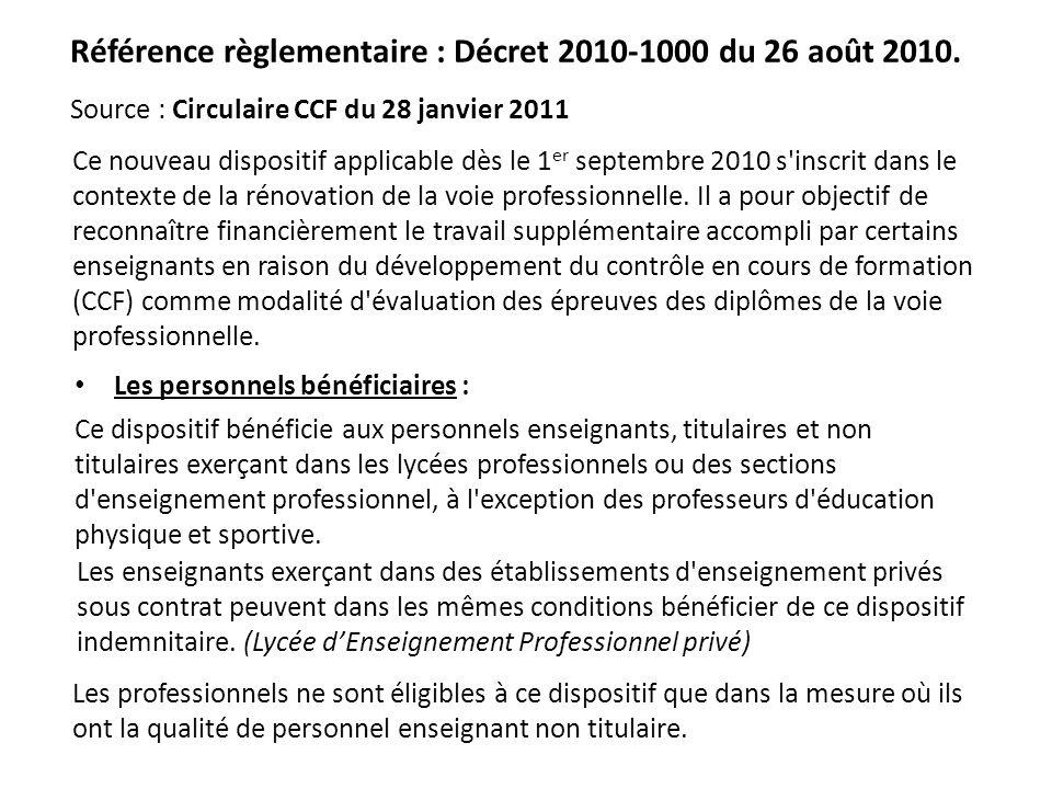 Référence règlementaire : Décret 2010-1000 du 26 août 2010. Ce nouveau dispositif applicable dès le 1 er septembre 2010 s'inscrit dans le contexte de
