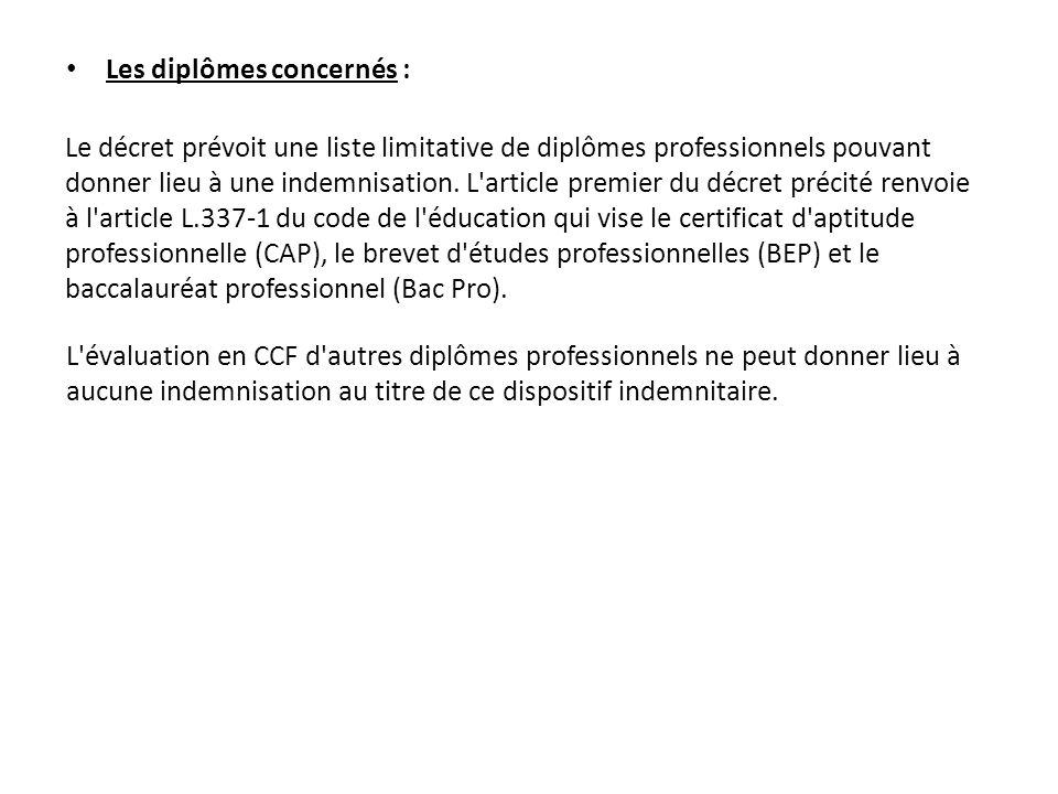 Les diplômes concernés : Le décret prévoit une liste limitative de diplômes professionnels pouvant donner lieu à une indemnisation. L'article premier