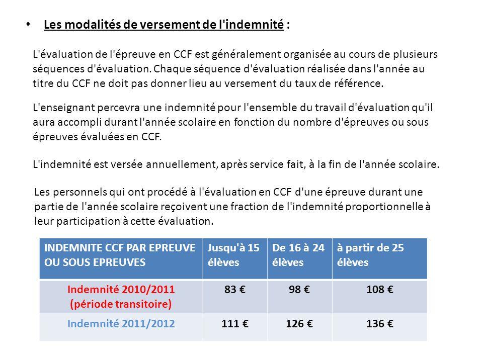 Les modalités de versement de l'indemnité : L'évaluation de l'épreuve en CCF est généralement organisée au cours de plusieurs séquences d'évaluation.