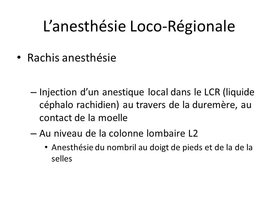 Lanesthésie Loco-Régionale Rachis anesthésie – Injection dun anestique local dans le LCR (liquide céphalo rachidien) au travers de la duremère, au con