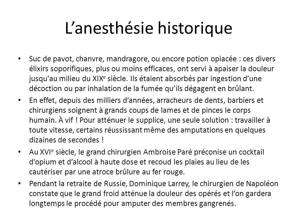 Lanesthésie historique Suc de pavot, chanvre, mandragore, ou encore potion opiacée : ces divers élixirs soporifiques, plus ou moins efficaces, ont ser