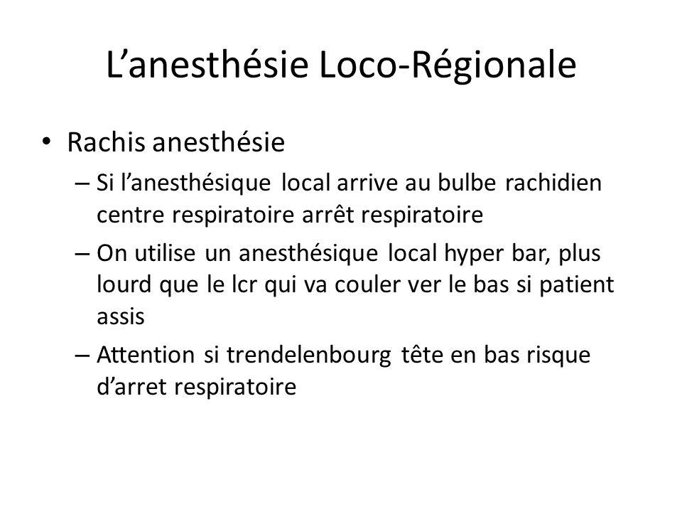 Lanesthésie Loco-Régionale Rachis anesthésie – Si lanesthésique local arrive au bulbe rachidien centre respiratoire arrêt respiratoire – On utilise un