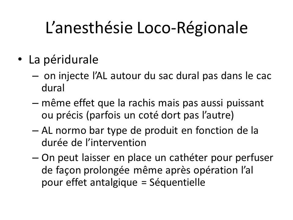 Lanesthésie Loco-Régionale La péridurale – on injecte lAL autour du sac dural pas dans le cac dural – même effet que la rachis mais pas aussi puissant
