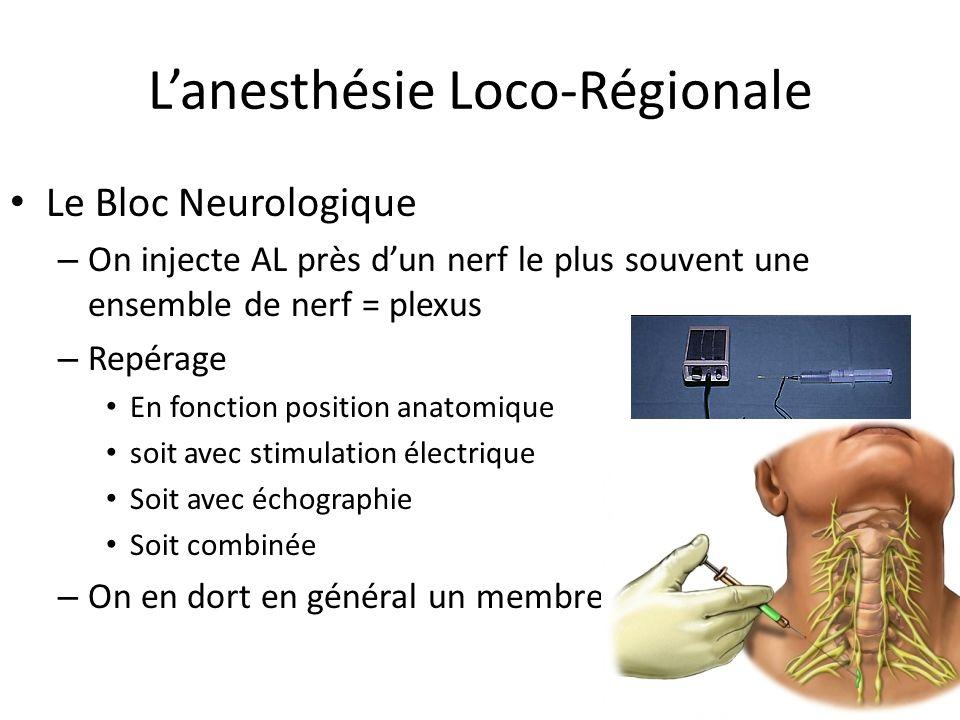 Le Bloc Neurologique – On injecte AL près dun nerf le plus souvent une ensemble de nerf = plexus – Repérage En fonction position anatomique soit avec