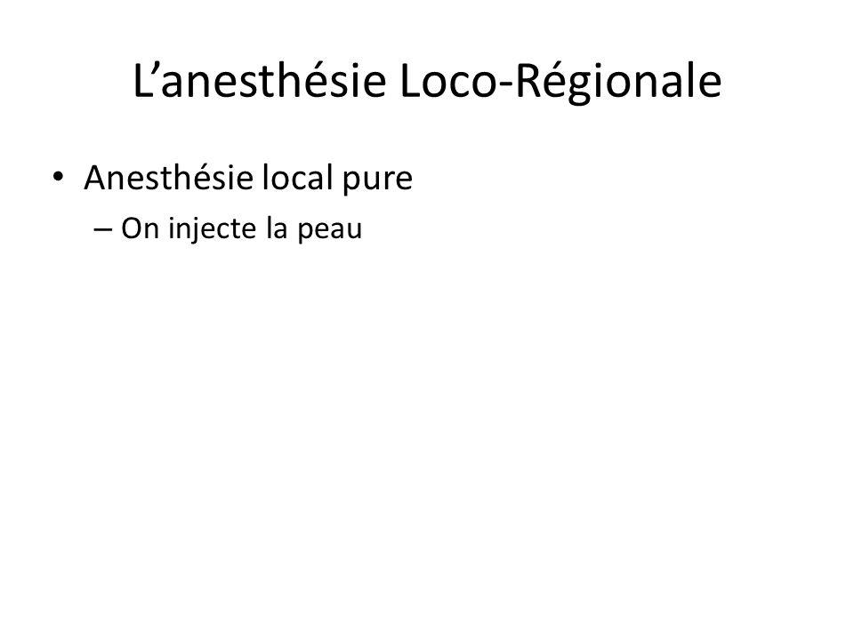 Lanesthésie Loco-Régionale Anesthésie local pure – On injecte la peau