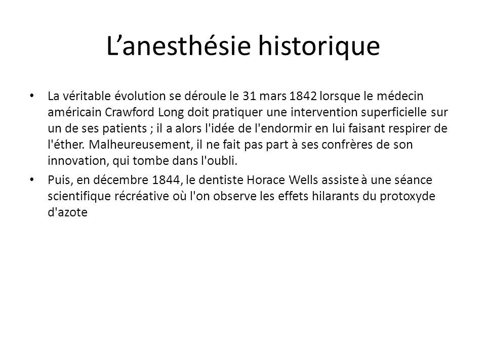 Lanesthésie historique Le 30 septembre 1846, Morton enlève une dent à un patient anesthésié avec de l éther versé sur un mouchoir.