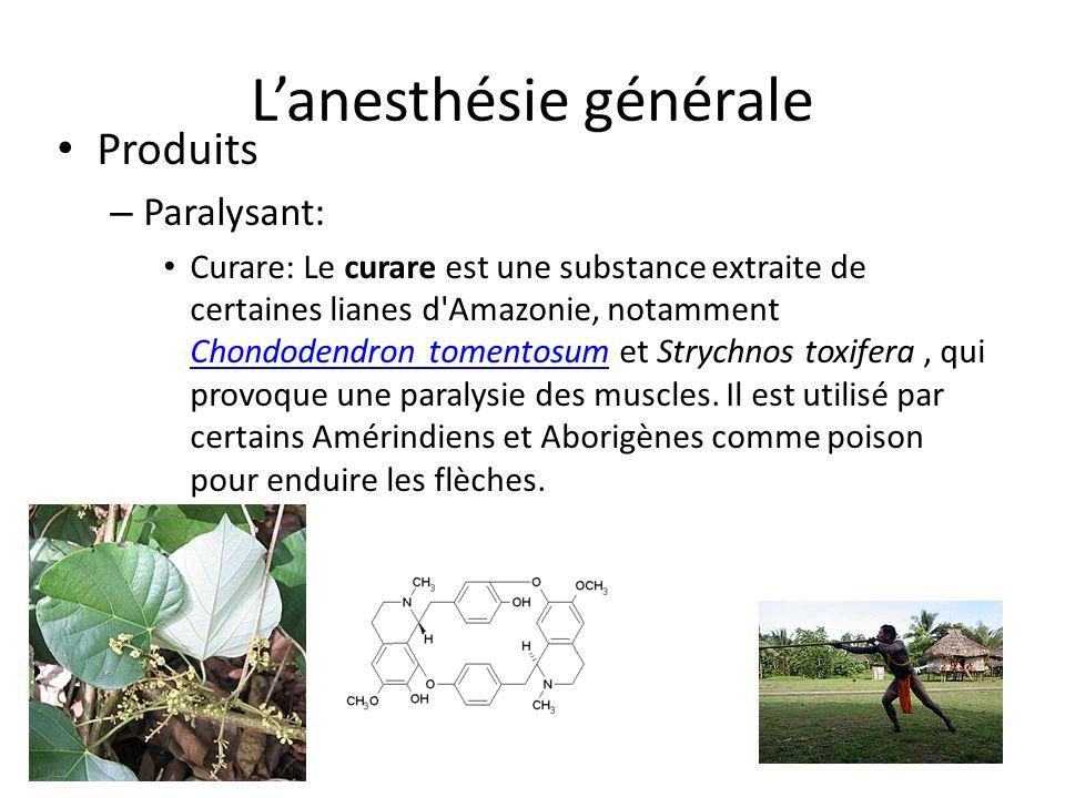 Lanesthésie générale Produits – Paralysant: Curare: Le curare est une substance extraite de certaines lianes d'Amazonie, notamment Chondodendron tomen