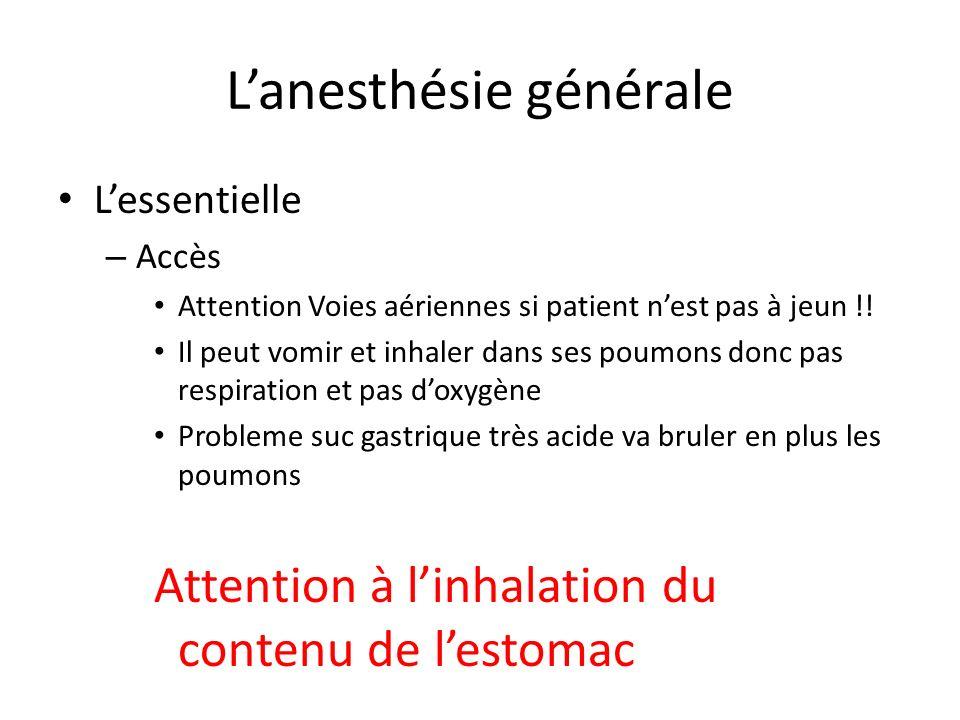 Lanesthésie générale Lessentielle – Accès Attention Voies aériennes si patient nest pas à jeun !! Il peut vomir et inhaler dans ses poumons donc pas r
