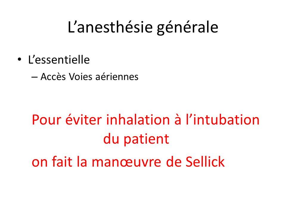 Lanesthésie générale Lessentielle – Accès Voies aériennes Pour éviter inhalation à lintubation du patient on fait la manœuvre de Sellick