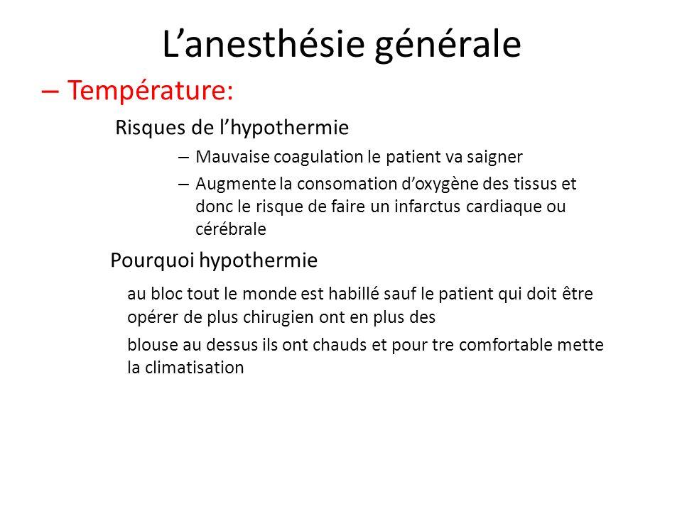 Lanesthésie générale – Température: Risques de lhypothermie – Mauvaise coagulation le patient va saigner – Augmente la consomation doxygène des tissus