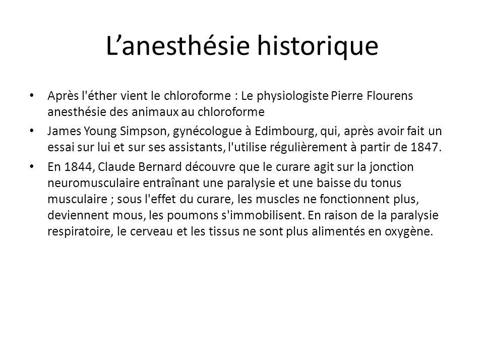 Lanesthésie historique Le temps s écoule et les médecins ne tirent profit de cette observation qu en 1942 : à cette date, un dérivé purifié, l intocotrine, extrait des plantes à curare rapportées d Amazonie en 1938 est introduit en anesthésie.