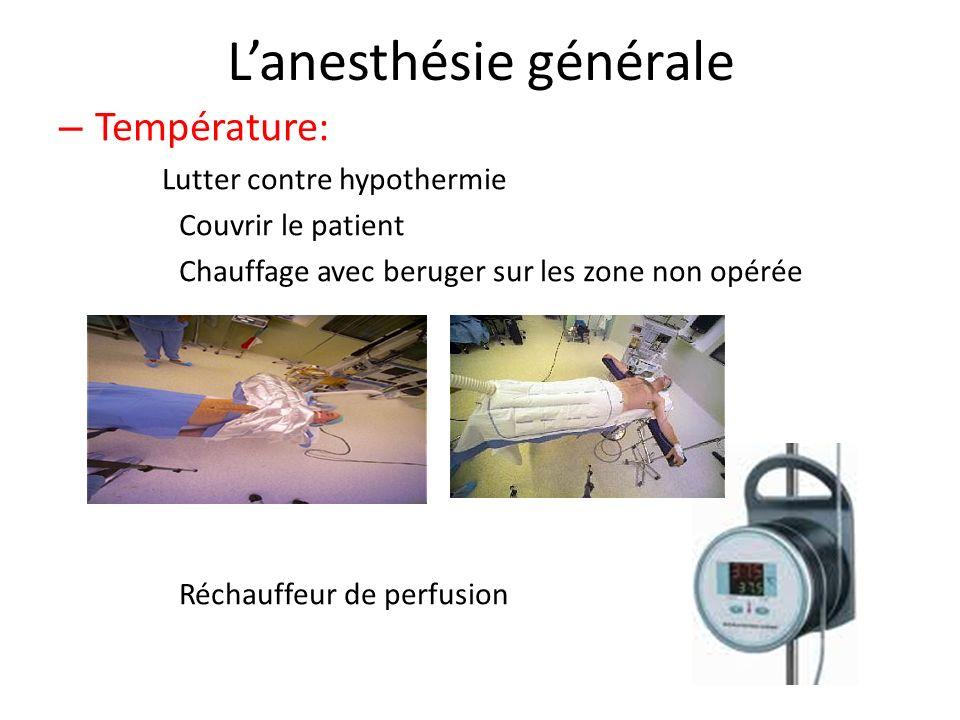 Lanesthésie générale – Température: Lutter contre hypothermie Couvrir le patient Chauffage avec beruger sur les zone non opérée Réchauffeur de perfusi