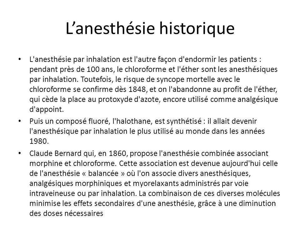 Lanesthésie historique L'anesthésie par inhalation est l'autre façon d'endormir les patients : pendant près de 100 ans, le chloroforme et l'éther sont