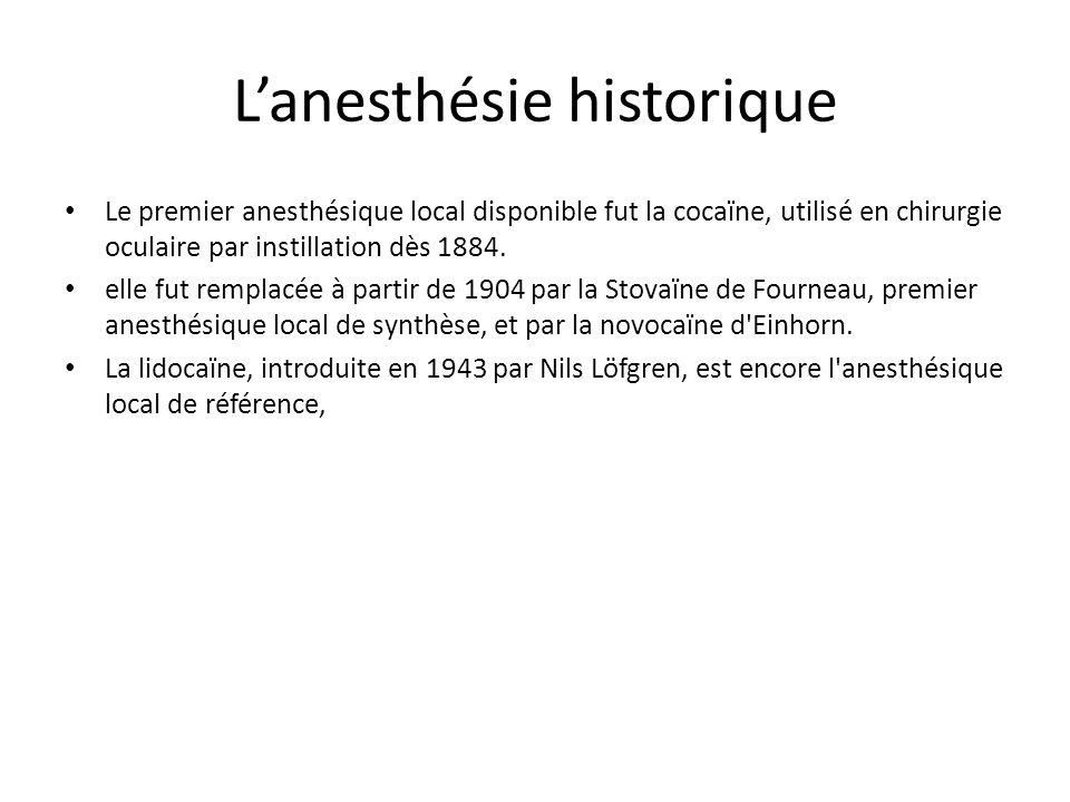 Lanesthésie historique Le premier anesthésique local disponible fut la cocaïne, utilisé en chirurgie oculaire par instillation dès 1884. elle fut remp