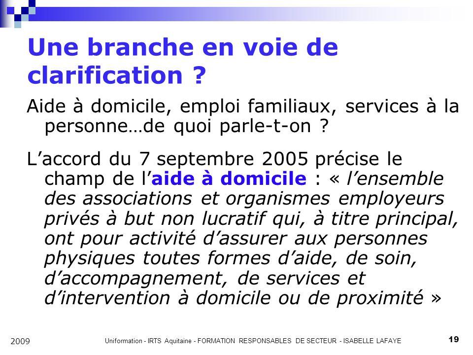 Uniformation - IRTS Aquitaine - FORMATION RESPONSABLES DE SECTEUR - ISABELLE LAFAYE 19 2009 Une branche en voie de clarification .