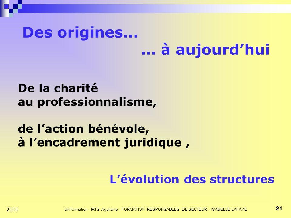 Uniformation - IRTS Aquitaine - FORMATION RESPONSABLES DE SECTEUR - ISABELLE LAFAYE 21 2009 Des origines… … à aujourdhui De la charité au professionnalisme, de laction bénévole, à lencadrement juridique, Lévolution des structures