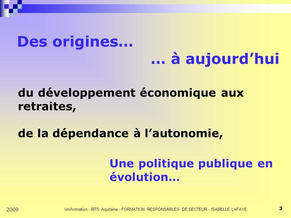 Uniformation - IRTS Aquitaine - FORMATION RESPONSABLES DE SECTEUR - ISABELLE LAFAYE 3 2009 Des origines… … à aujourdhui du développement économique aux retraites, de la dépendance à lautonomie, Une politique publique en évolution…