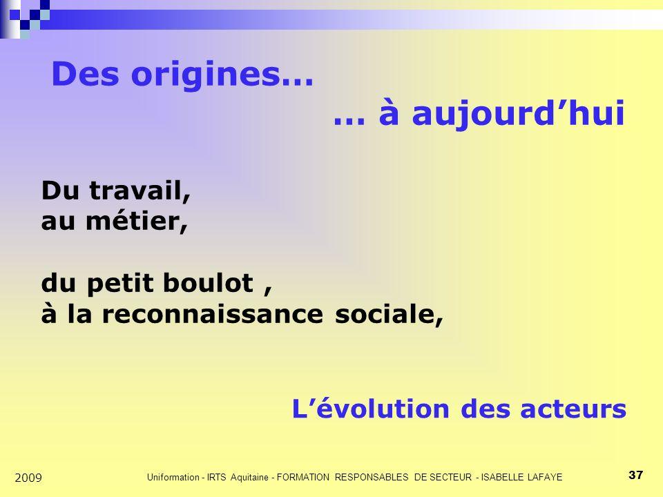Uniformation - IRTS Aquitaine - FORMATION RESPONSABLES DE SECTEUR - ISABELLE LAFAYE 37 2009 Des origines… … à aujourdhui Du travail, au métier, du petit boulot, à la reconnaissance sociale, Lévolution des acteurs
