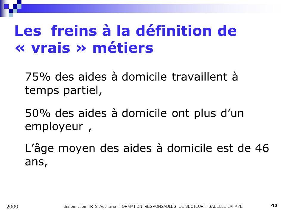 Uniformation - IRTS Aquitaine - FORMATION RESPONSABLES DE SECTEUR - ISABELLE LAFAYE 43 2009 Les freins à la définition de « vrais » métiers 75% des aides à domicile travaillent à temps partiel, 50% des aides à domicile ont plus dun employeur, Lâge moyen des aides à domicile est de 46 ans,