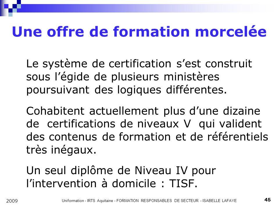 Uniformation - IRTS Aquitaine - FORMATION RESPONSABLES DE SECTEUR - ISABELLE LAFAYE 45 2009 Une offre de formation morcelée Le système de certification sest construit sous légide de plusieurs ministères poursuivant des logiques différentes.