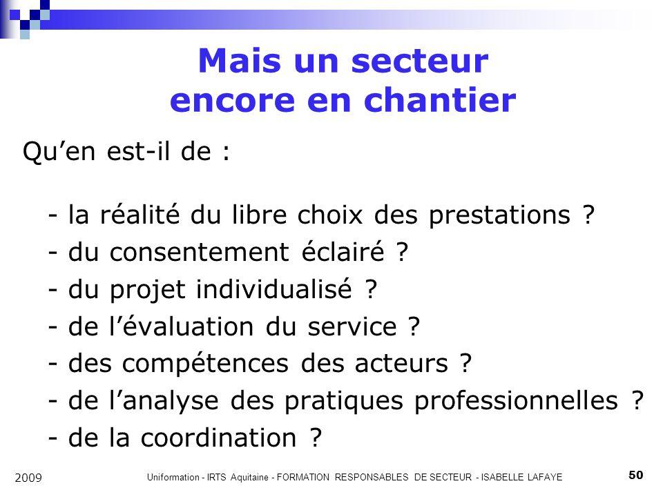 Uniformation - IRTS Aquitaine - FORMATION RESPONSABLES DE SECTEUR - ISABELLE LAFAYE 50 2009 Mais un secteur encore en chantier Quen est-il de : - la réalité du libre choix des prestations .