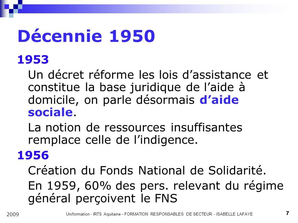 Uniformation - IRTS Aquitaine - FORMATION RESPONSABLES DE SECTEUR - ISABELLE LAFAYE 7 2009 Décennie 1950 1953 Un décret réforme les lois dassistance et constitue la base juridique de laide à domicile, on parle désormais daide sociale.