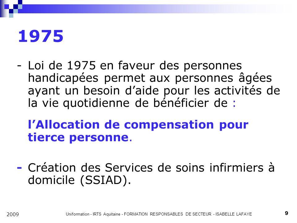 Uniformation - IRTS Aquitaine - FORMATION RESPONSABLES DE SECTEUR - ISABELLE LAFAYE 9 2009 1975 -Loi de 1975 en faveur des personnes handicapées permet aux personnes âgées ayant un besoin daide pour les activités de la vie quotidienne de bénéficier de : lAllocation de compensation pour tierce personne.