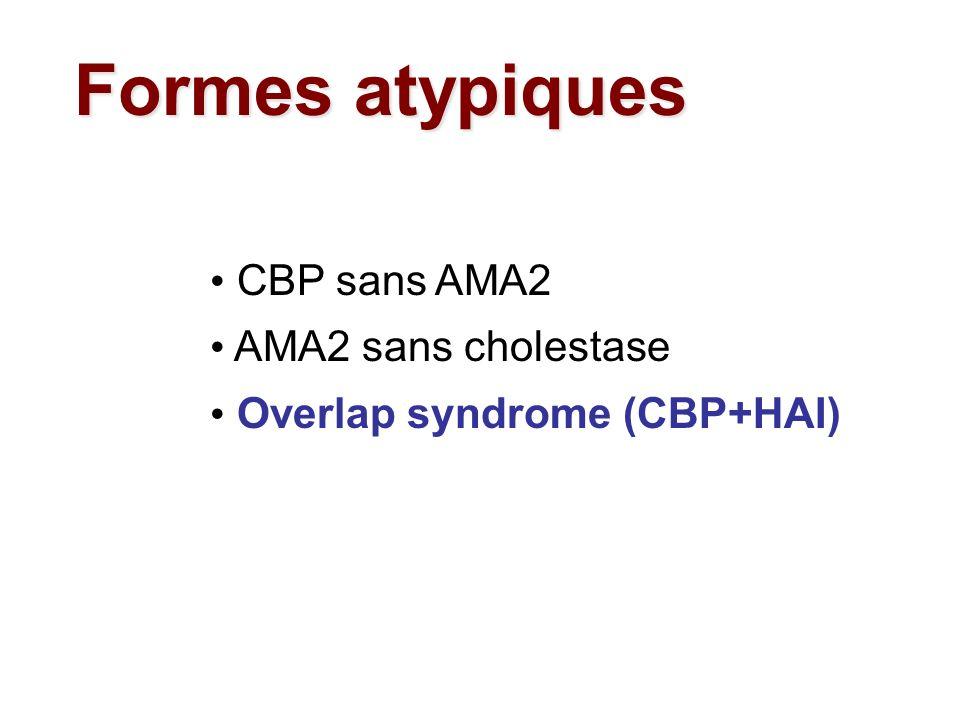 CBP sans AMA2 AMA2 sans cholestase Overlap syndrome (CBP+HAI) Formes atypiques
