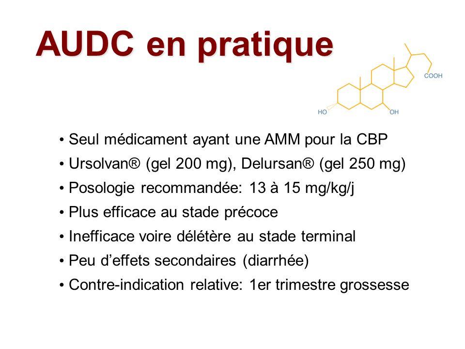 Seul médicament ayant une AMM pour la CBP Ursolvan® (gel 200 mg), Delursan® (gel 250 mg) Posologie recommandée: 13 à 15 mg/kg/j Plus efficace au stade