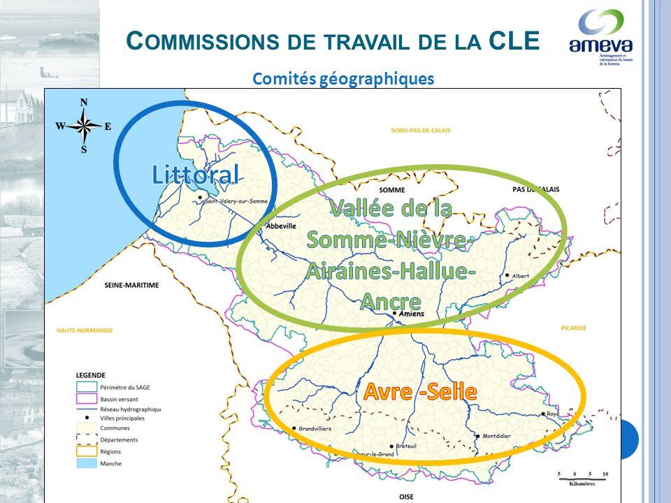 C OMMISSIONS DE TRAVAIL DE LA CLE Comités géographiques